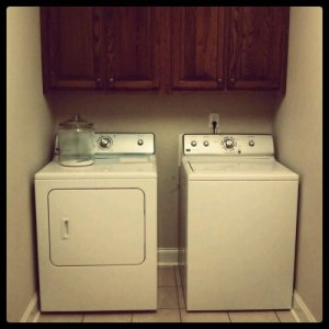 My new washer and dryer in my uninteresting laundry room.